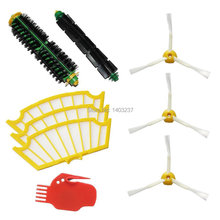 Bristle Brush Flexible Beater Brush Side Brush 3-Armed Filters Red Cleaning Tool Pack Kit for iRobot Roomba 500 Series