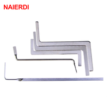 5PCS NAIERDI Locksmith Tools Stainless Steel Double Row Tension Wrench Tool Removal Hooks Lock Extractor Set Furniture Hardware