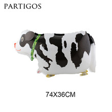 Wholesale 10pcs/lot Walking Cow Balloons Farm Animals Pets Edition balloons Birthday Party Decorations Helium Inflatable Globos(China)