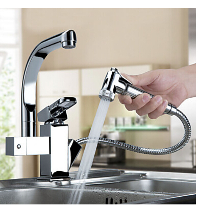 Luxury Pull Out Sprayer Single Handle Hole Kichen Faucet Deck Mounted Chrome Brass Vessel Sink Mixer Tap Dual Spouts<br><br>Aliexpress