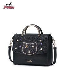 JUST STAR Women's PU Leather Handbags Ladies Fashion Rivet Tote Bags Female Cat Cute Messenger Bags Brand High Quality JZ4227(China)