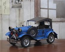 Home Decoration Crafts Figurines Miniatures vintage retro Iron Metal handmade colored classic antique car model free shipping