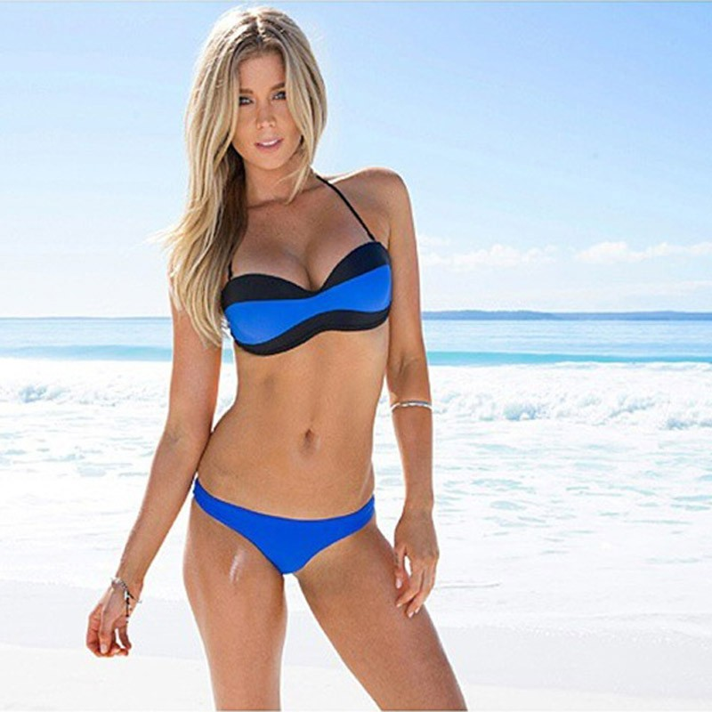 2017 Newest Women Bikini Set Push Up Swimwear High Quality Acrylic Fabric Patchwork Swimsuit Bathing Suit FX58<br><br>Aliexpress