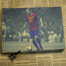5 Sizes famous football Football player Andres Iniesta Poster wall poster print home Paper Barcelona Spain National Team