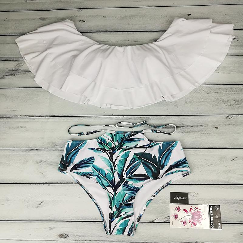 Bikini set 17 Doubledeck flouncing Swimsuit Push Up Bathing Suit sexy Women High Waist Swimwear Off Shoulder Swimming Suits 11