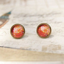 Spring Floral Earrings for Girls Boho Style Vintage Jewelry Antique Bronzed Stud Earrings 10mm Glass Cabochon Post Earrings rd35(China)