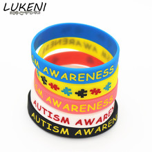 LUKENI Colorful Autism Awareness Puzzle Silicone Bracelets&Bangles Daily Reminder By Wearing This Colourful Wristbands SH075(China)