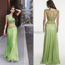 New Design 2015 Cap Sleeve Unique Lace Inexpensive Middle East Style Long Chiffon Green Prom Dresses Casual Dress