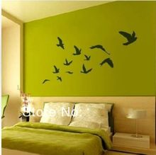 Creative design Large size Pretty Birds flying Wall Art Vinyl Decoration Removable Sticker(200CMX110CM)(China)