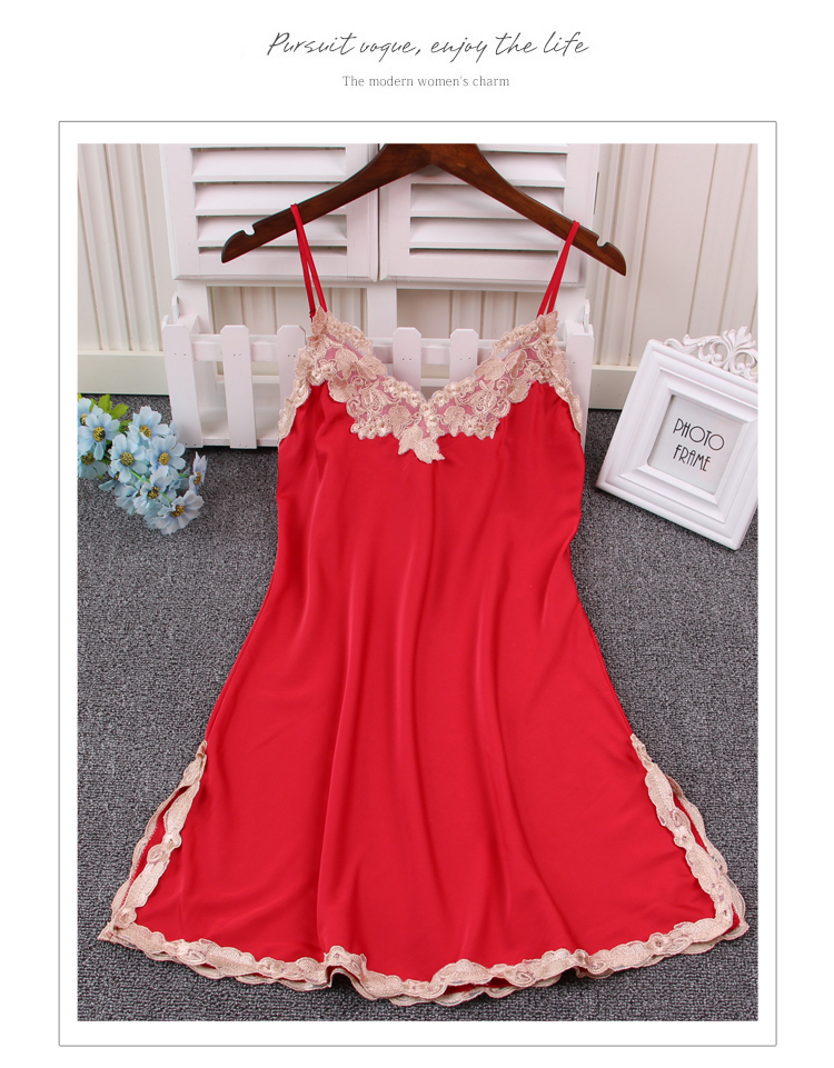 Ladies Sexy Strap Lingerie Silk Satin Night Dress Sleeveless Nighties Nightgown Summer Nightdress Lace For Women AD077