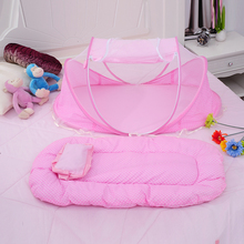 Baby Bedding Crib Netting Folding Baby Music Mosquito Nets Bed Mattress Pillow Three-piece Suit For 0-2 Years Old Children(China)