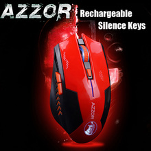 AZZOR Rechargeable Wireless Illuminate Computer Mouse Mice Laser Gaming 2400 DPI 2.4G FPS Gamer Silence Lithium Battery Build-in(China)