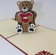 teddy bear 3d laser cut pop up custom greeting cards printing handmade birthday designs wishes party supplies cd200 - Handmade Greeting Cards Designs
