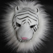 Realistic Fur Mane Latex Mask Creepy Animal Tiger/Lion/Monkey/Wolf Partern Full Face Cosplay Halloween Costume P20(China)
