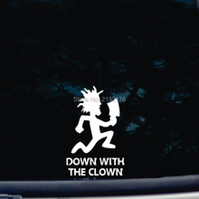 Down with the Clown die cut vinyl car stickers decal for windows, cars, trucks, tool boxes, laptops, MacBook 6'' tall white