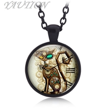 3 Colors Punk Clock Mechanical Cat Pendant Time Gems Fashion Jewelry Necklace(China)