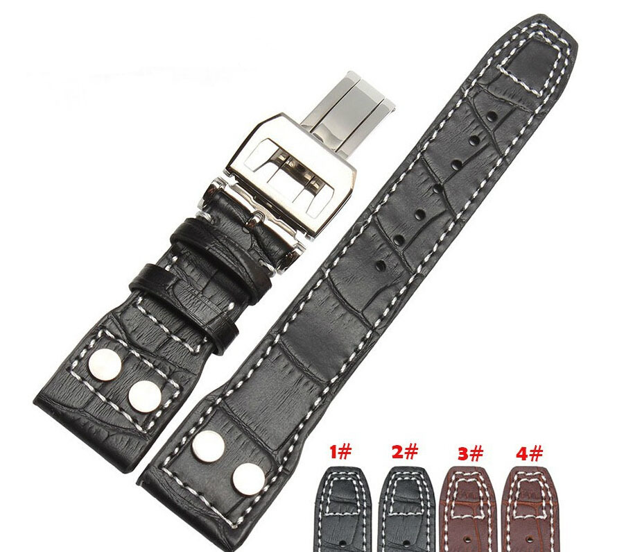 22mm Black Genuine Leather Rivet Watch Band Strap Deployment For BRAND Big Pilot Free Shipping<br><br>Aliexpress