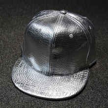 Fashion Gold Bright Surface Faux Leather Man Baseball Cap Snakeskin Pattern Silver Surface Solid PU Hiphop Hat Peaded Cap Women
