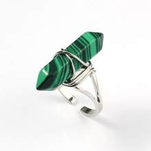 Kraft-beads Gorgeous Silver Plated Hexagon Column Wire Winding Resizable Malachite Rings For Women