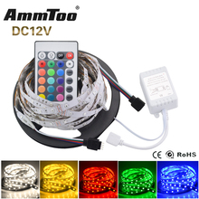 RGB LED Strip 2835 RGB Led Tape DC 12V 5M 300LED Flexible String Light + 24Key Controller + 3A Power Adapter luces led tiras