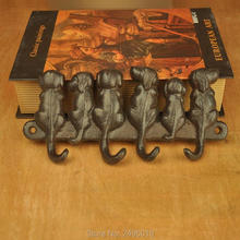 6 Dogs Cast Iron Wall Hanger - Decorative Cast Iron Wall Hook Rack - Vintage Design Hanger with 4 Hooks - Wall Mounted