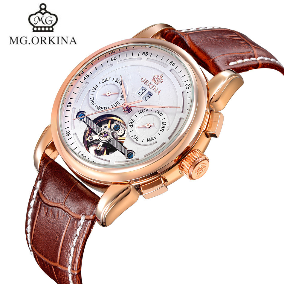 MG.Orkina Fashion Watches Hodinky Mens Tourbillon Day/Week/Month Watch Auto Mechanical Wristwatch Gift Box Free Ship<br>