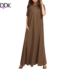 DIDK Summer Casual Long Dresses For Woman Plain Brown Crew Neck Short Sleeve Zipper Back Loose Shift Maxi Dress(China)