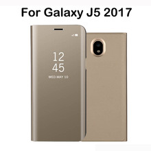 Electroplated Mirror Flip Smart Sleep Leather Cover For Samsung Galaxy J5 2017 SM-J530F Case Luxury Original For Samsung J5 2017(China)