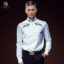 Free Shipping New fashion male Men's high-end customized long sleeved Embroidery Shirt 612143 gentleman personality custom-made(China)