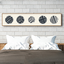 HAOCHU Retro Beige Japanese Geometric Lines Black Circle Straw Canvas Painting Large banners Wall Poster For Bedroom Home Decor