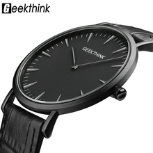 GEEKTHINK 2017 New ultra slim Top brand Quartz-Watch Men Casual Business JAPAN Analog Watch Men Relogio Masculino with gift box