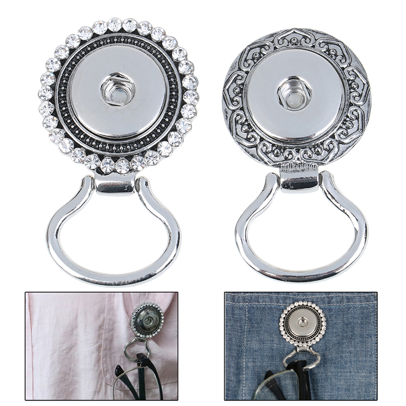 New 1pc Snap Button Magnetic Eyeglass Holder ID Badge Glasses Brooch Pin 2 Styles For Women Men