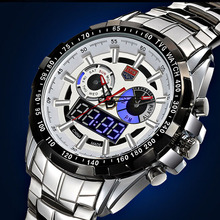 Sport watch TVG high-end brand Watches Men Led Display Full Steel Quartz Watch Men Fashion Sapphire Waterproof Military Watch(China)