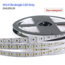 204 Leds / M Waterproof IP65 Led Strip Light 3014 SMD 5M / Roll Led Ribbon Tape DC12V Led Flexible Lamp Super Bright Decor Light