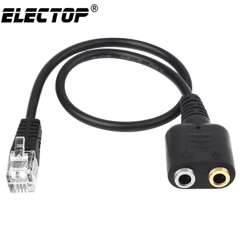 Electop New 1PC 25cm Dual 3.5mm Audio Jack Female to Male RJ9 Plug Adapter Convertor Cable PC Computer Headset Telephone Using(China)