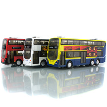 1/43 London Double Decker Alloy ABS Bus Models Sound Light Pull Back Tourist Bus Red Yellow White Children Gifts Toys Collection