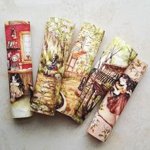 printed patchwork DIY hand dyed cotton canvas fabric decorative painting hand-painted cloth Korea forest girl design