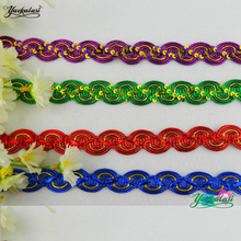 YACKALASI 12 Yds Crochet Braided Band Lace Sequined Trims S Wave Striped Cosplay Costumes Appliqued Sewing Apparel Ribbon 1.8CM(China)