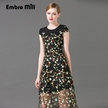 Women retro embroidered long dress summer women Chinese style vintage ladies flowers slim elegant beautiful lady party dresses