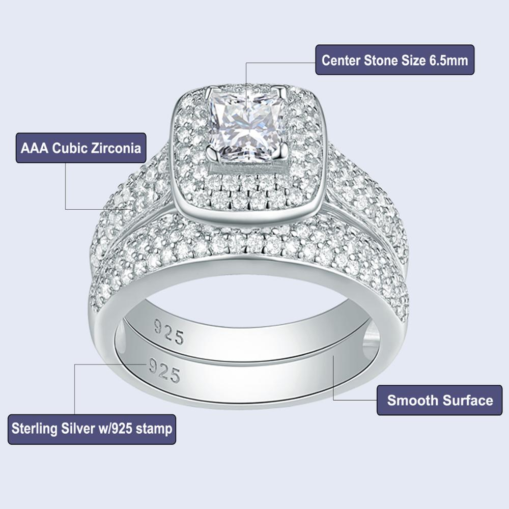 2.26 Ct Princess Cut AAA CZ 925 Sterling Silver 2 PCS Vintage Bridal Ring Set