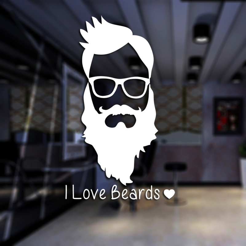 Man Beard Barber Shop Sticker Name Chop Bread Decal Haircut Posters Vinyl Wall Art Decals Decor Windows Decoration Mural