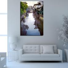 Town Water ship Landscape Traditional Chinese Oil Painting Unframed Frameless Spray Canvas Colorful drawing hologram kitchen