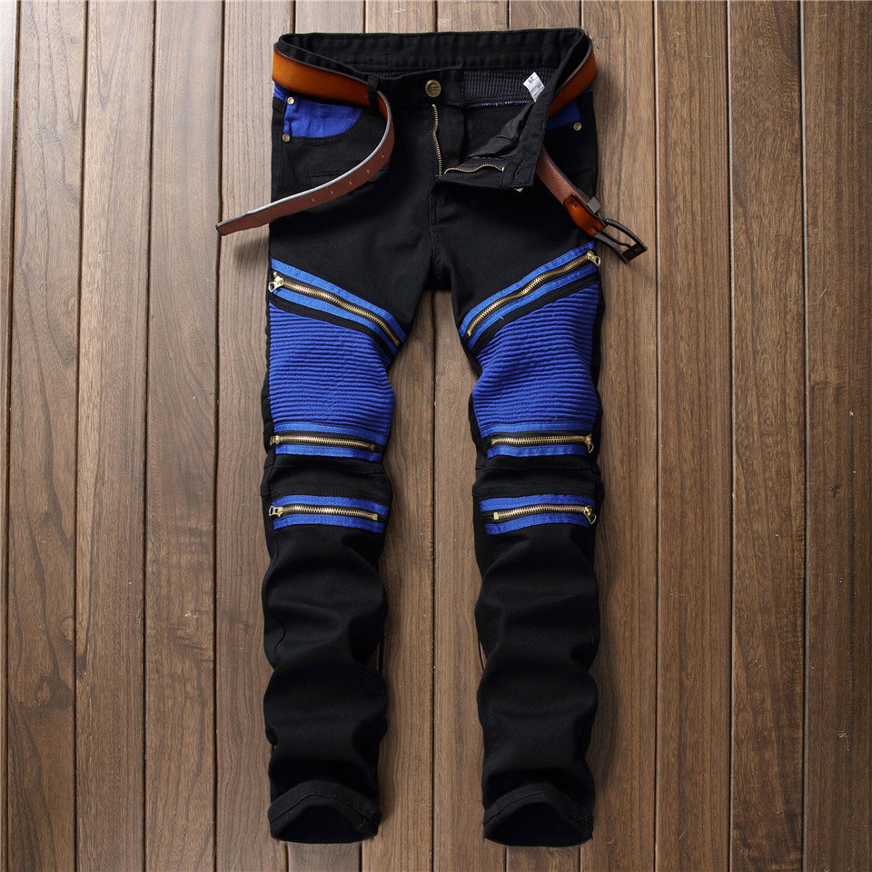 Ankle Zipper Mens Bikers Jeans Jogger Streetwear Pleated Slim Straight Jeans Men Stretch Patchwork Hip Hop Pants Moto TrousersÎäåæäà è àêñåññóàðû<br><br>