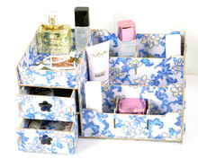 Mi Xiuer M30 new cosmetics box manufacturers and elegant blue floral DIY desktop wooden jewelry box storage(China)