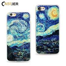 CASEIER Case For iPhone 6 6s 7 8 Plus Soft TPU Cover Van Gogh Starry Night Cases For iPhone 5 5s SE 3D Relief Capa Accessories(China)