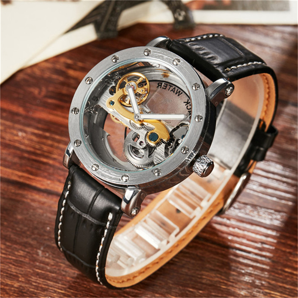 Skeleton Men Watches Rhinestone Decoration Automatic Self-Wind Mechanical Watches Leather Band Strap Waterproof Best Gifts<br>