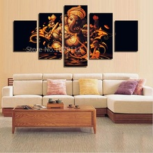 Promotion 5 Panels Wall Art Ganesha Lord Pictures Prints On Canvas For Buddha Unframed Paintings Home Decor Pieces Per Set