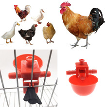 5 Pcs/Set Plastic Red Duck/Chicken Water Cup Automatic Feeder Coop Feed Drinker Bowl