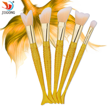 New Fashion Mermaid Brushes Makeup Set Colorful Fish Tail Powder Foundation Eye Lip Contour Brushes Kit Cosmetic Tool(China)