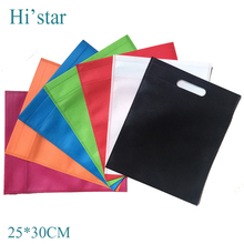 25*30cm 20 pieces/lot Personal brand printed non woven fabrics tote bag punch hole handle no side no depth(China)